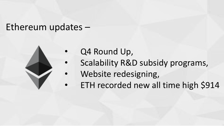 Ethereum updates - Q4 Round Up, scalability R&D subsidy programs, website redesigning, ETH recorded new all time high $914