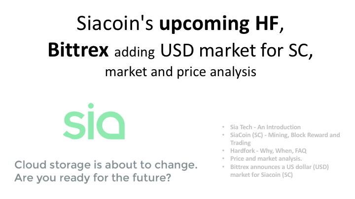 Siacoin's upcoming HF, Bittrex adding USD market for SC, market and price analysis