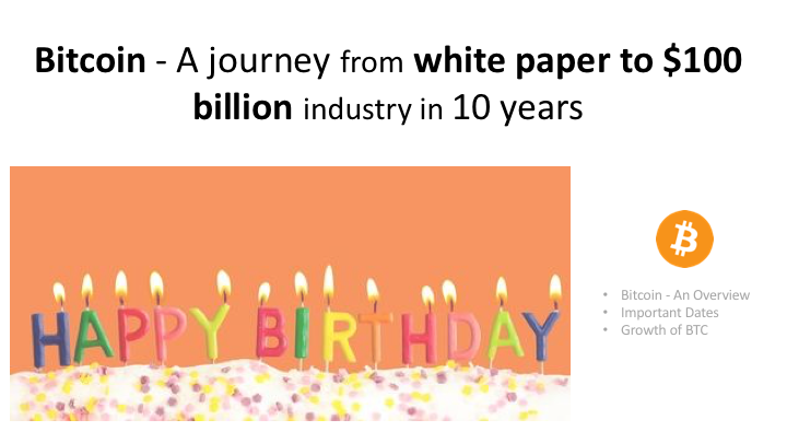 Bitcoin - A journey from white paper to $100 billion industry in 10 years