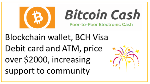 Bitcoin Cash Blockchain wallet, BCH Visa Debit card and ATM, price over $2000, increasing support to community