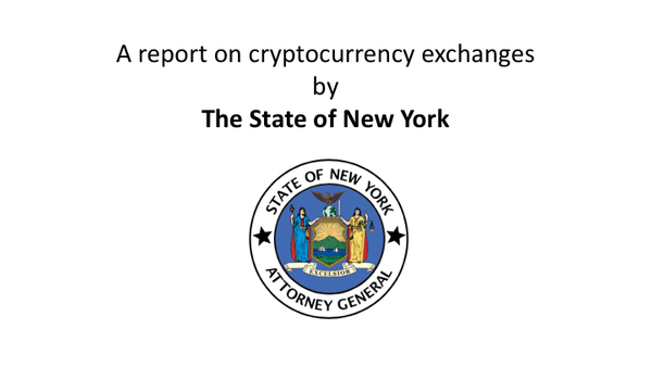 A report on cryptocurrency exchanges by The State of New York