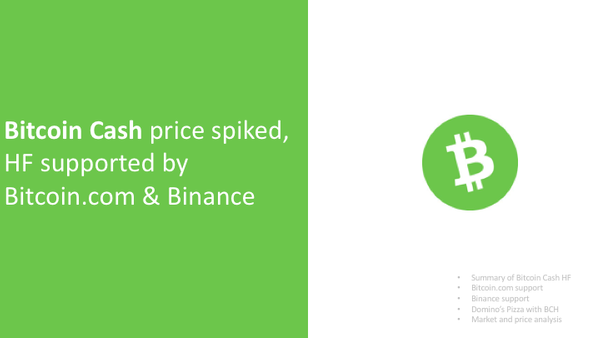 Bitcoin Cash price spiked, HF supported by Bitcoin.com & Binance, Ledger suspending services