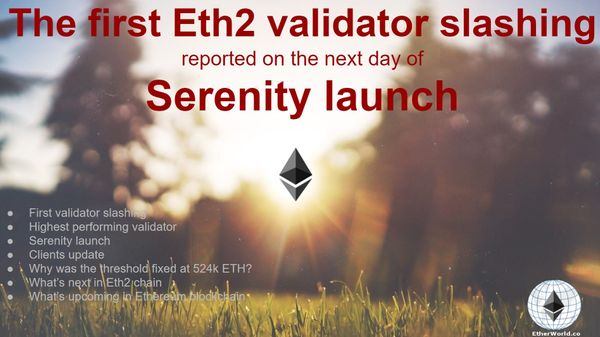 The first Eth2 validator slashing  reported on the next day of Serenity launch